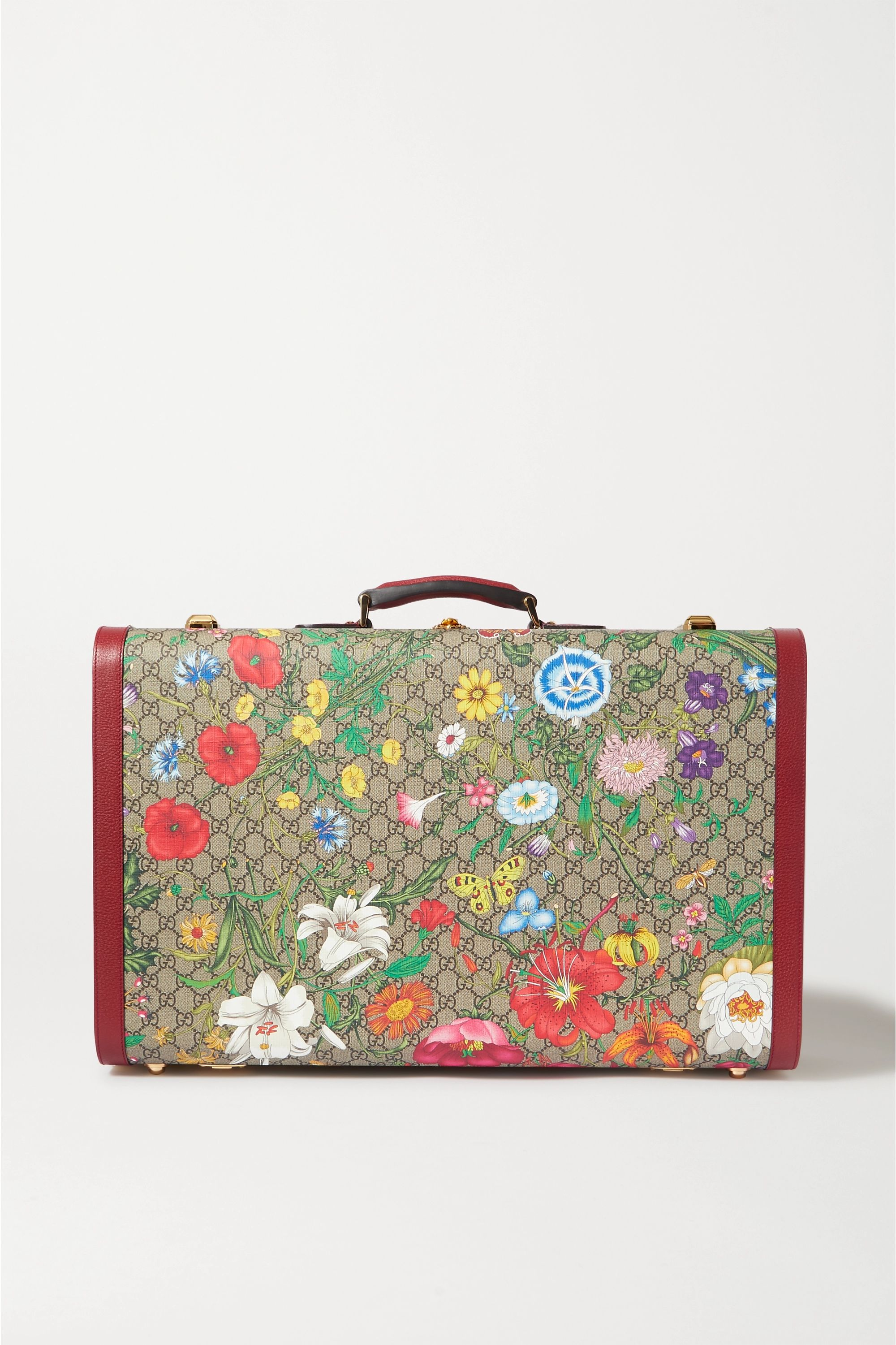 Gucci Ophidia large textured leather-trimmed printed coated-canvas suitcase
