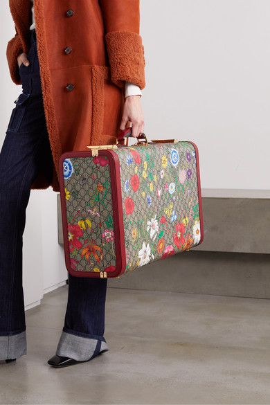 Ophidia Large Textured Leather Trimmed Printed Coated Canvas Suitcase by Gucci