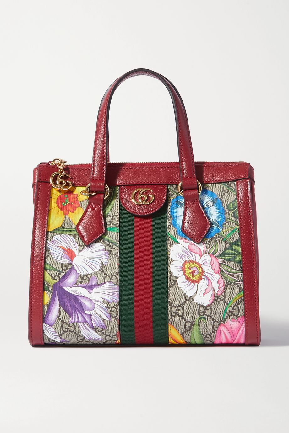 Gucci Ophidia mini textured leather-trimmed printed coated-canvas tote