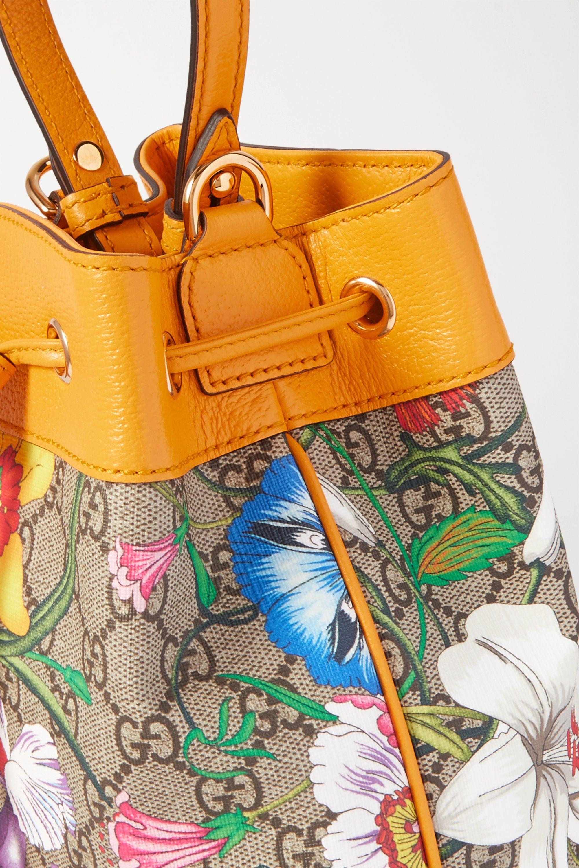 Gucci Ophidia bedruckte Beuteltasche aus beschichtetem Canvas mit Besätzen aus strukturiertem Leder
