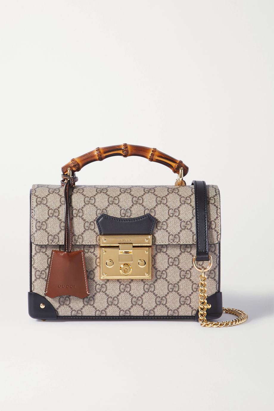 Gucci Padlock small leather-trimmed printed coated-canvas tote