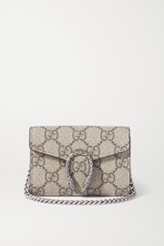 Dionysus super mini printed coated canvas and leather shoulder bag