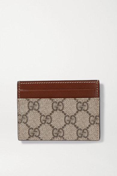 Linea Leather Trimmed Printed Coated Canvas Cardholder by Gucci
