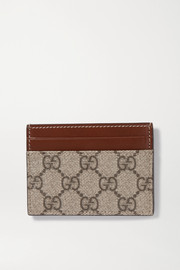 Linea leather-trimmed printed coated-canvas cardholder