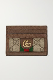 Ophidia textured leather-trimmed printed coated-canvas cardholder