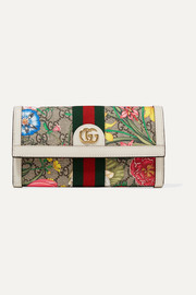 Ophidia textured leather-trimmed printed coated-canvas continental wallet