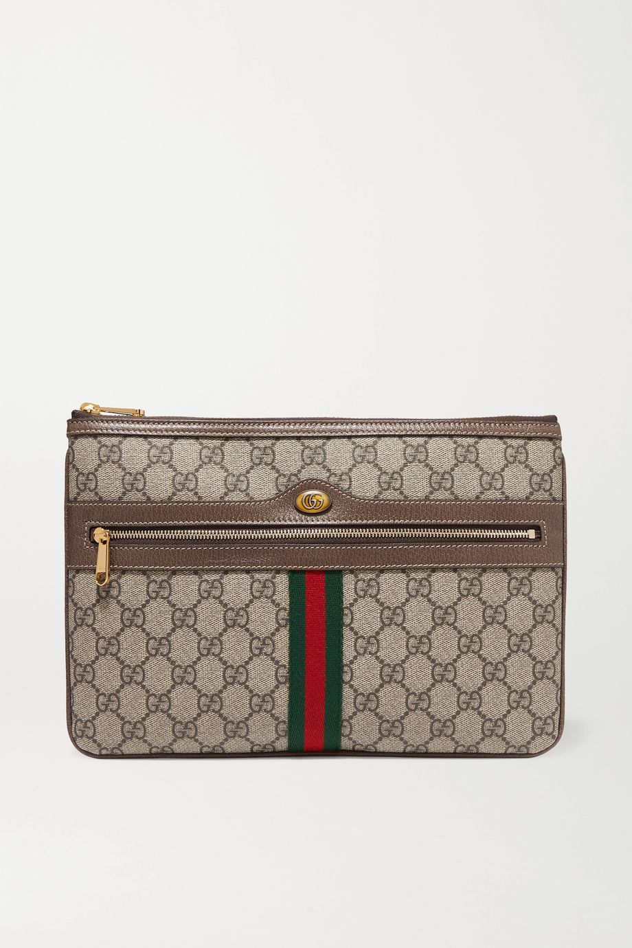 Gucci Ophidia medium textured leather-trimmed printed coated-canvas pouch