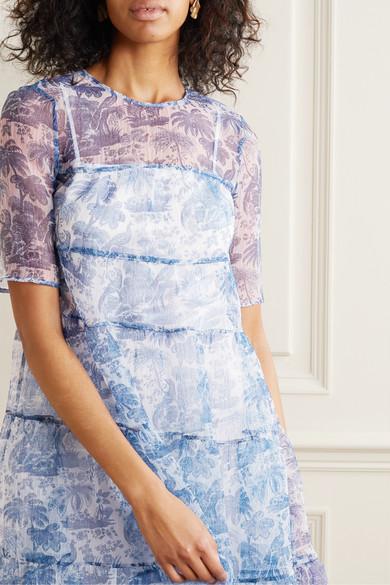 STAUD | Hyacinth tiered printed crinkled organza maxi dress