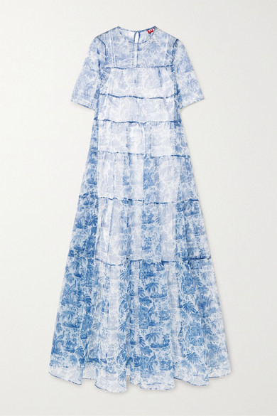 Hyacinth tiered printed crinkled organza maxi dress