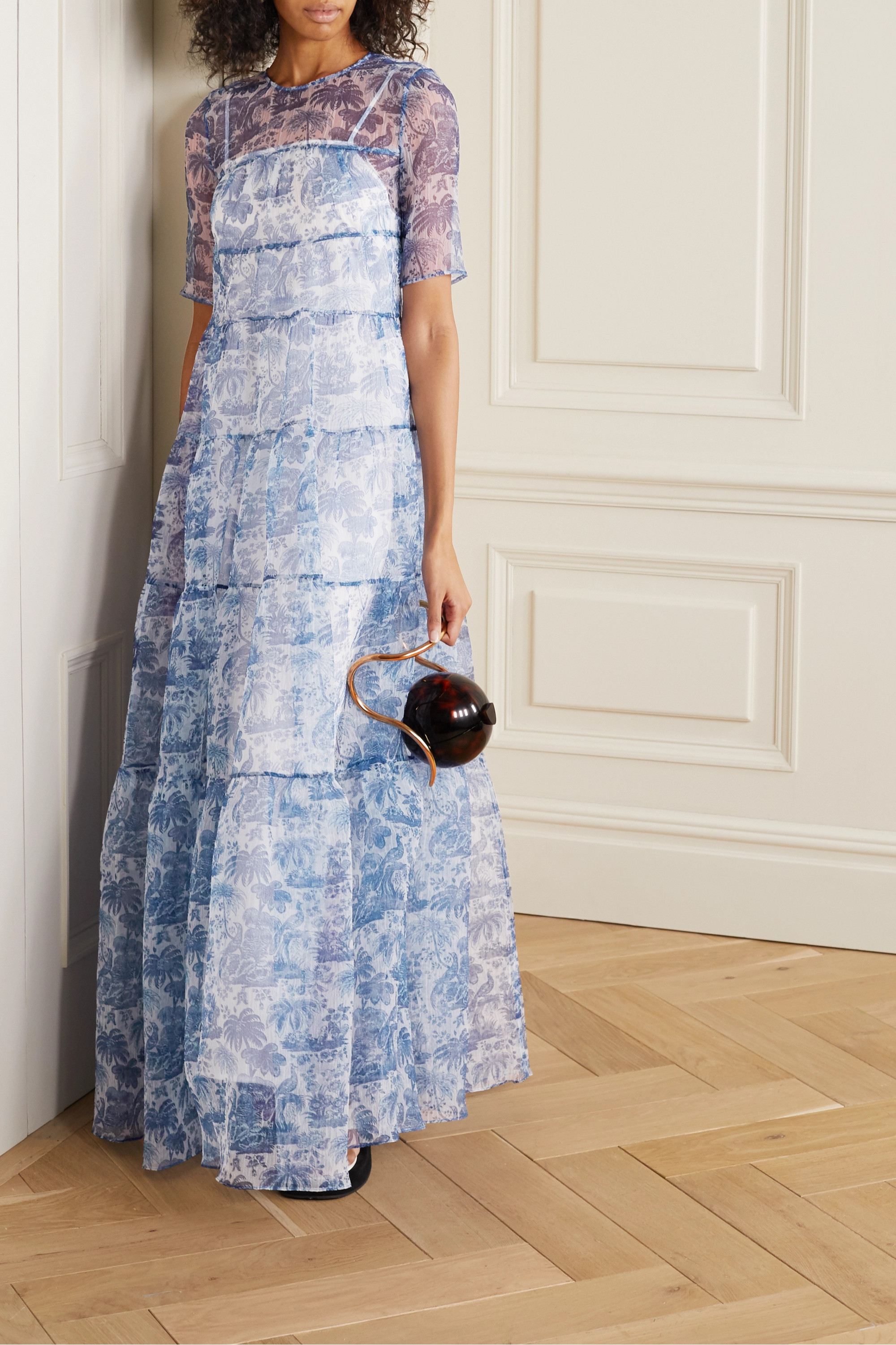 STAUD Hyacinth tiered printed crinkled-organza maxi dress