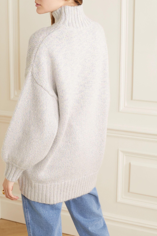 STAUD Charlotte oversized metallic mélange knitted turtleneck sweater
