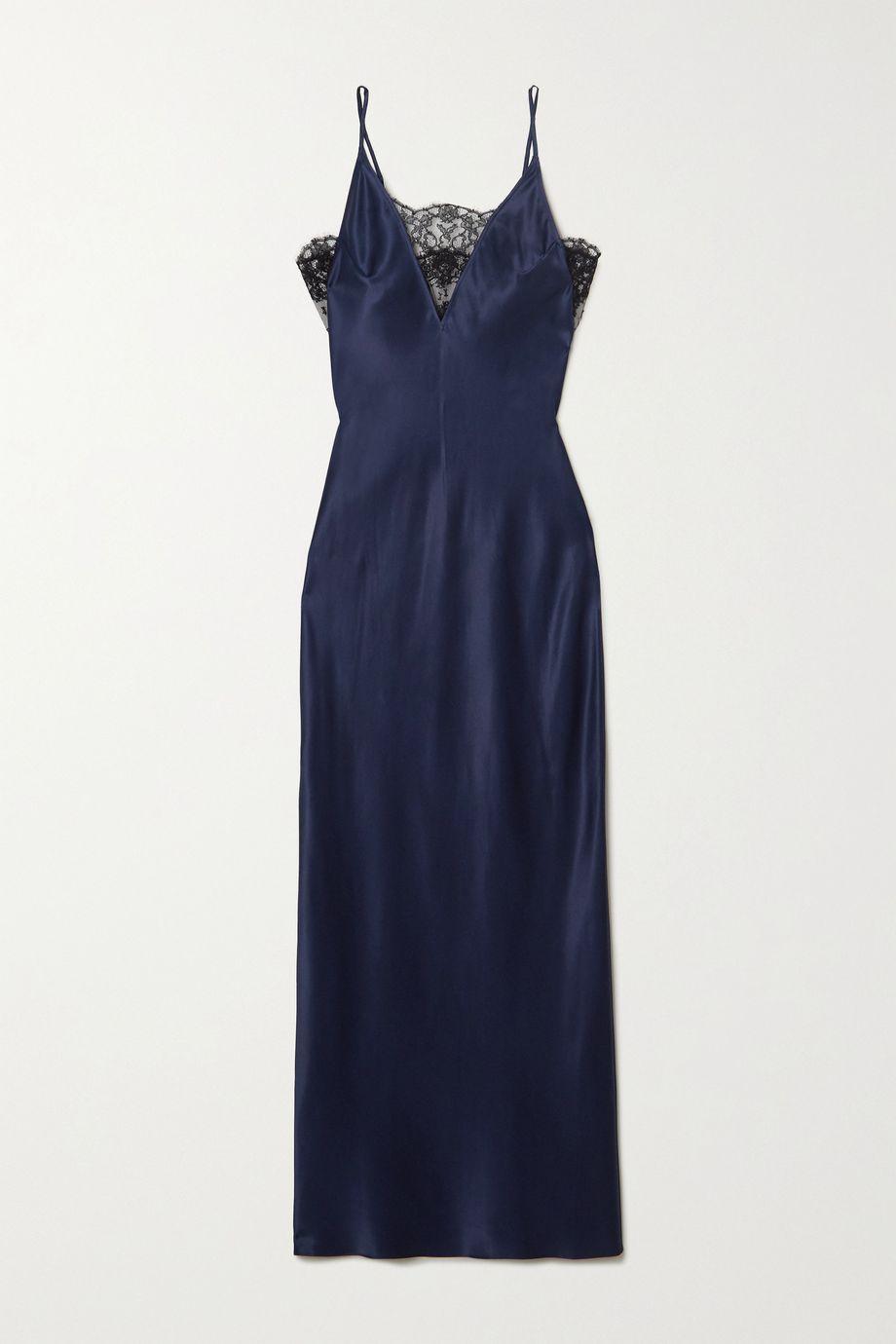 Fleur du Mal Daphne lace-trimmed silk-satin nightdress