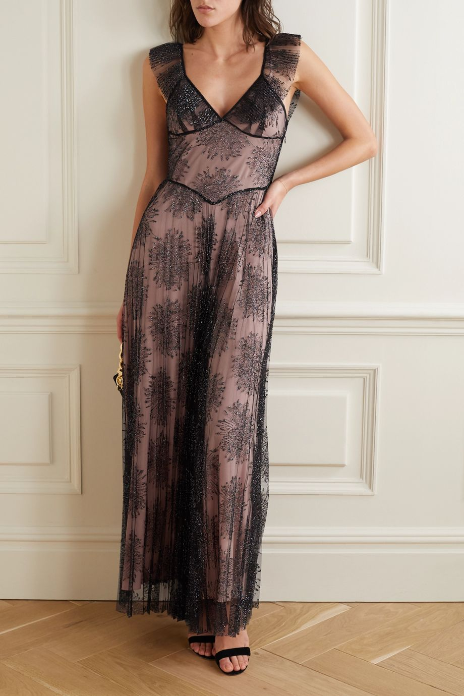 Fleur du Mal Pleated embroidered tulle maxi dress