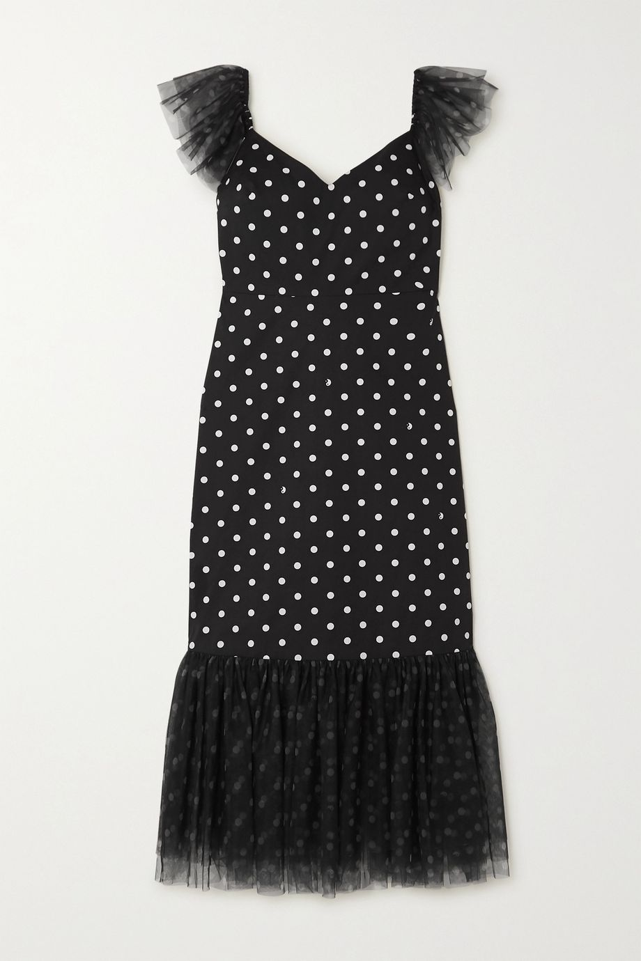 STAUD Marwa ruffled polka-dot cotton-blend and tulle midi dress