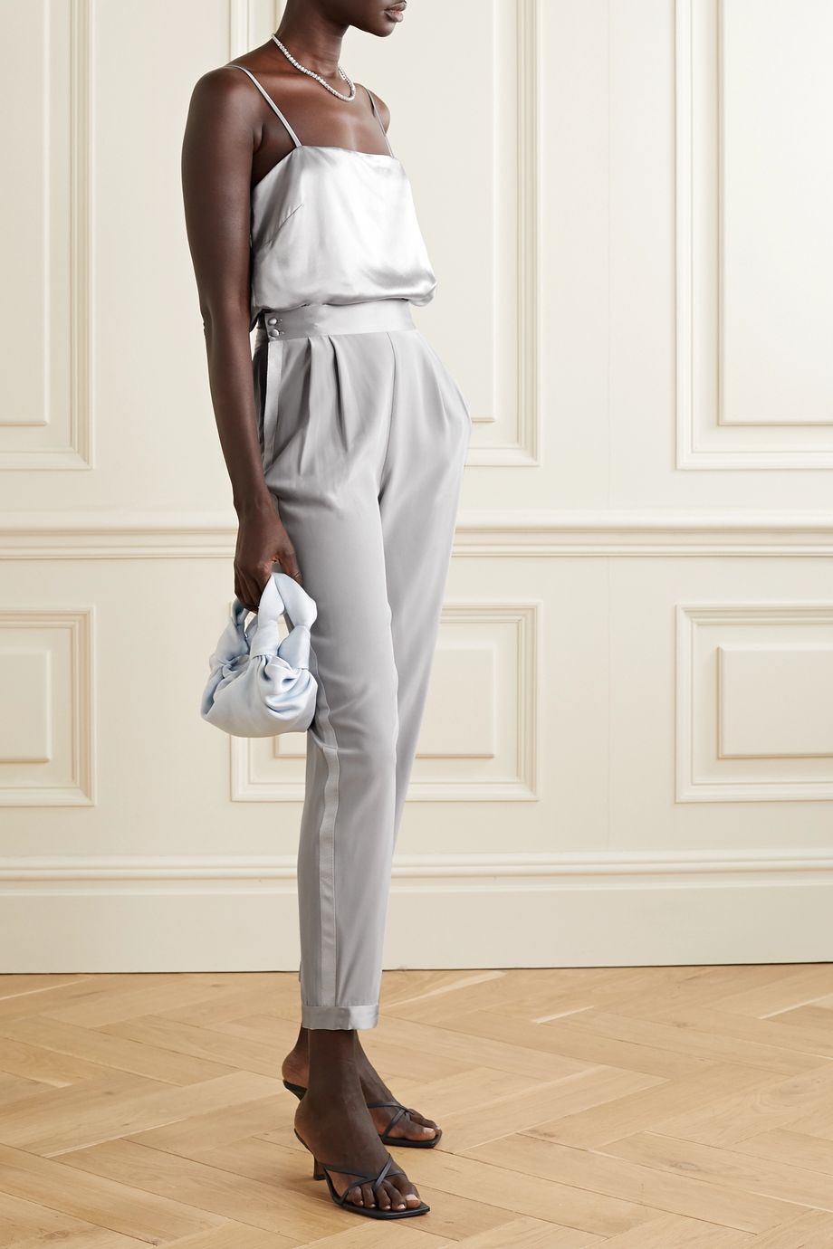Fleur du Mal Cropped satin and grosgrain-trimmed silk-crepe tapered pants
