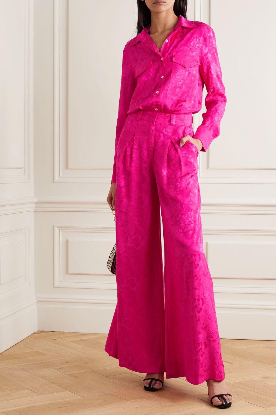 STAUD Serge floral-jacquard wide-leg pants