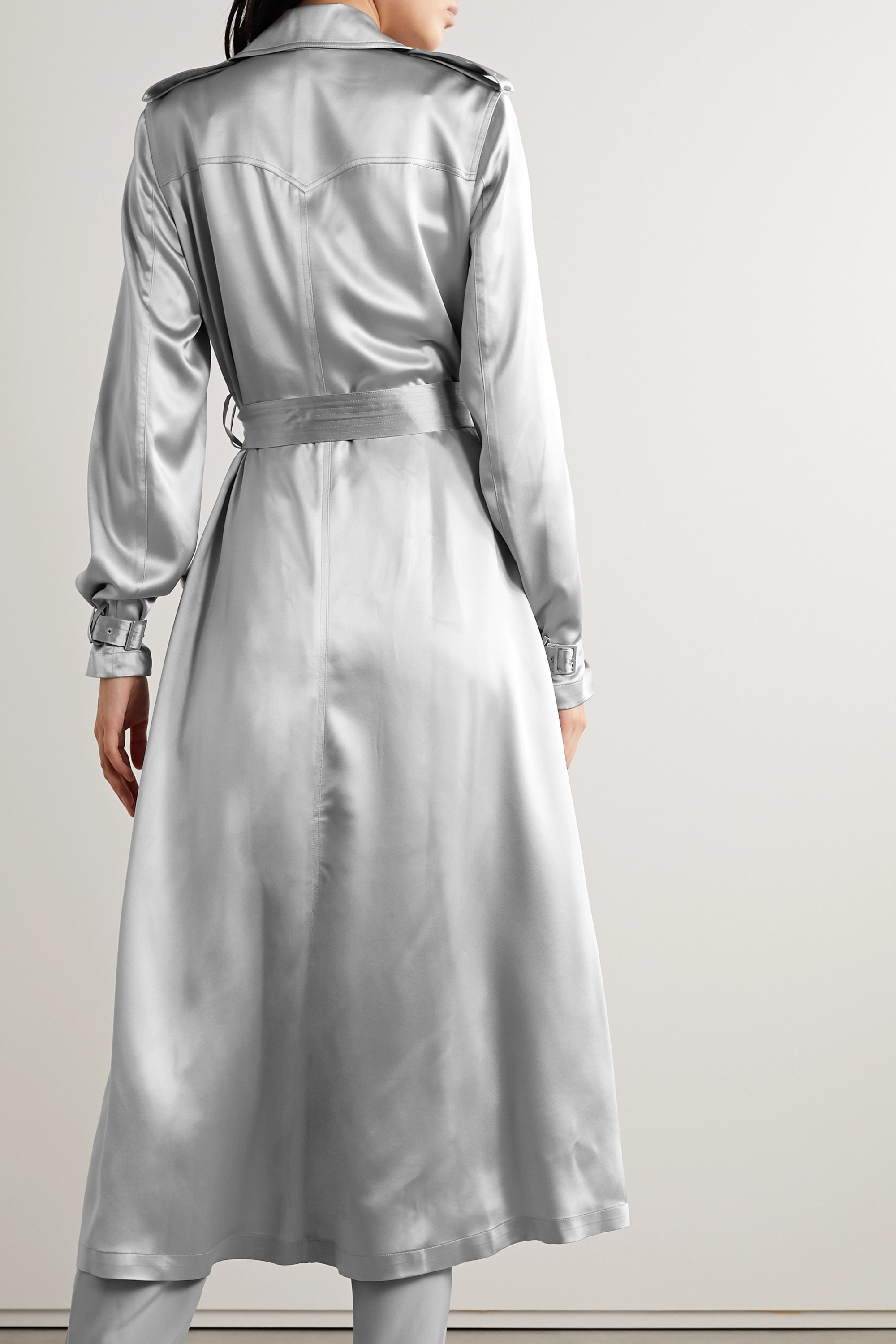 Fleur du Mal Double-breasted silk-satin trench coat