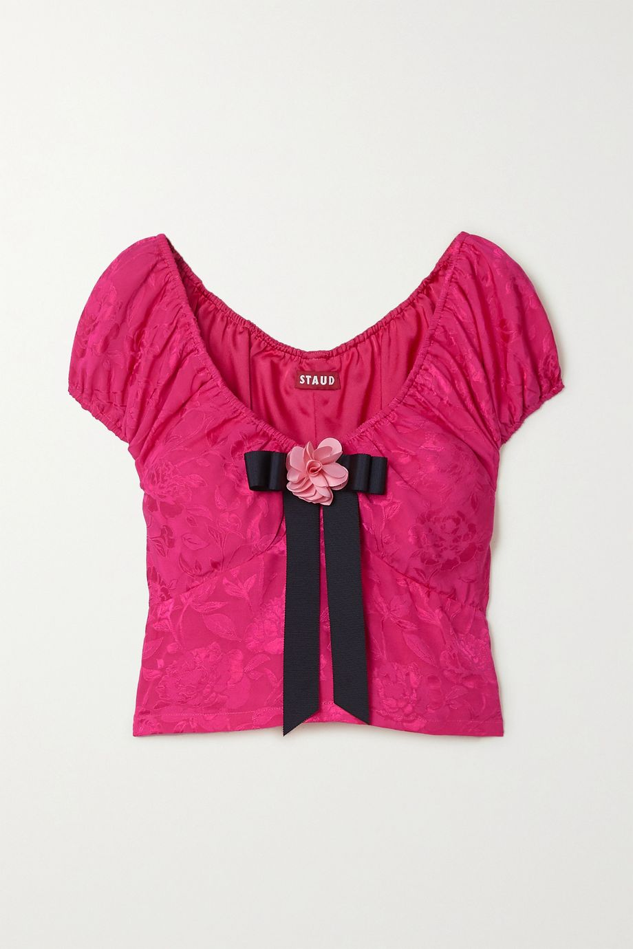 STAUD Hydrangea bow-embellished floral-jacquard top