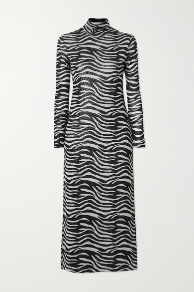 Staud BRAE ZEBRA-PRINT STRETCH-MESH TURTLENECK MIDI DRESS