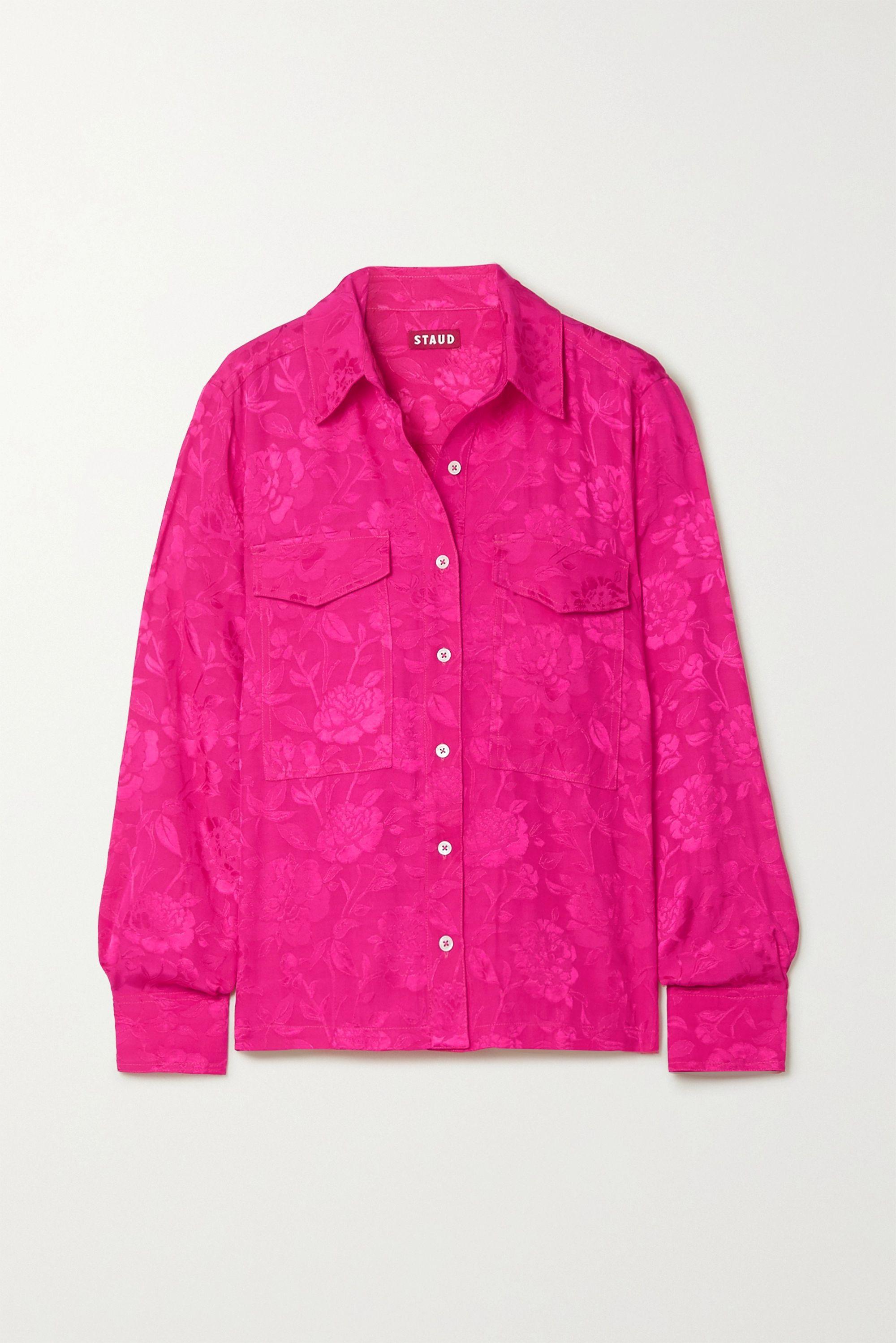 STAUD Alyssa floral-jacquard shirt