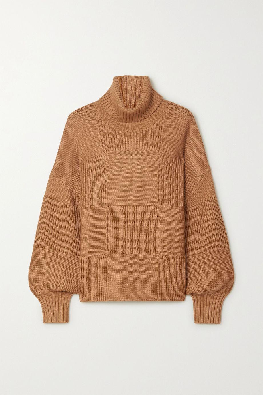 STAUD Benny ribbed-knit turtleneck sweater