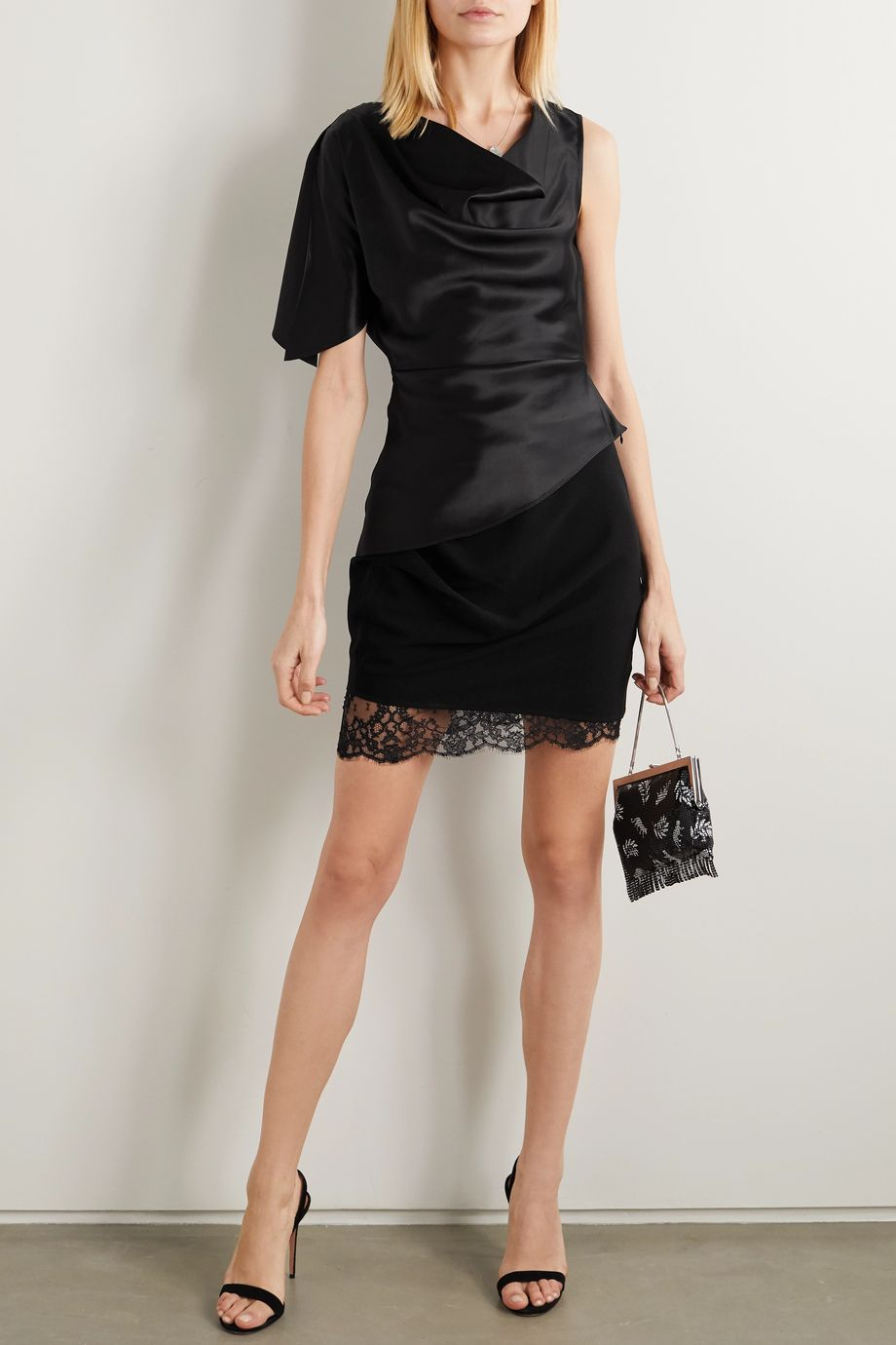 Fleur du Mal Lace-trimmed ruched crepe mini skirt