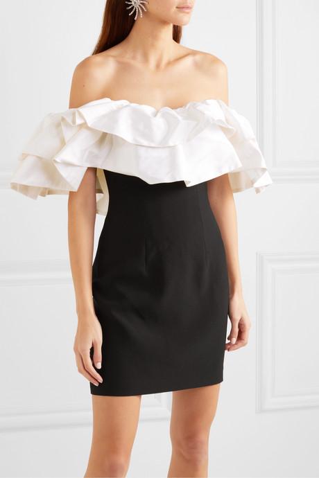 Off-the-shoulder ruffled dupioni and crepe mini dress