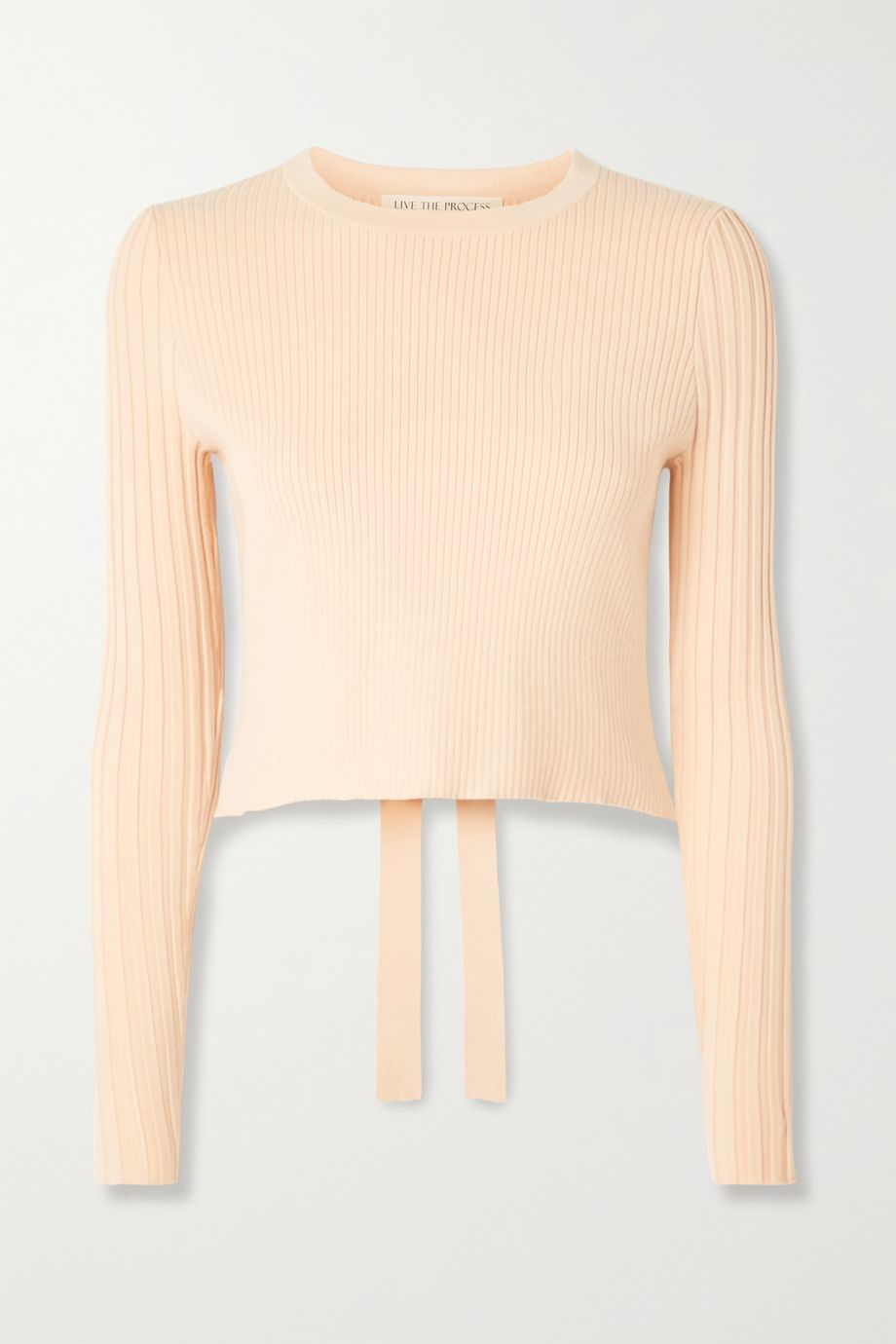 Live The Process Cropped cutout ribbed-knit sweater