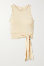 Live The Process Ballet cropped wrap-effect stretch-Supplex top