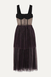 RASARIO Tiered glittered polka-dot tulle and cady gown