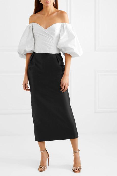 Off-the-shoulder two-tone silk-taffeta midi dress