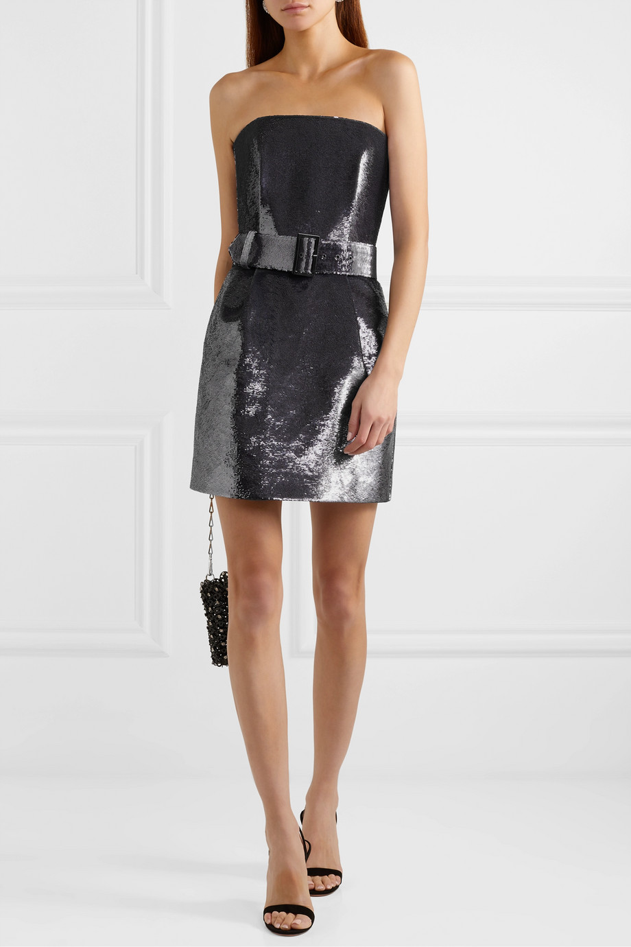 RASARIO Strapless belted sequined satin mini dress