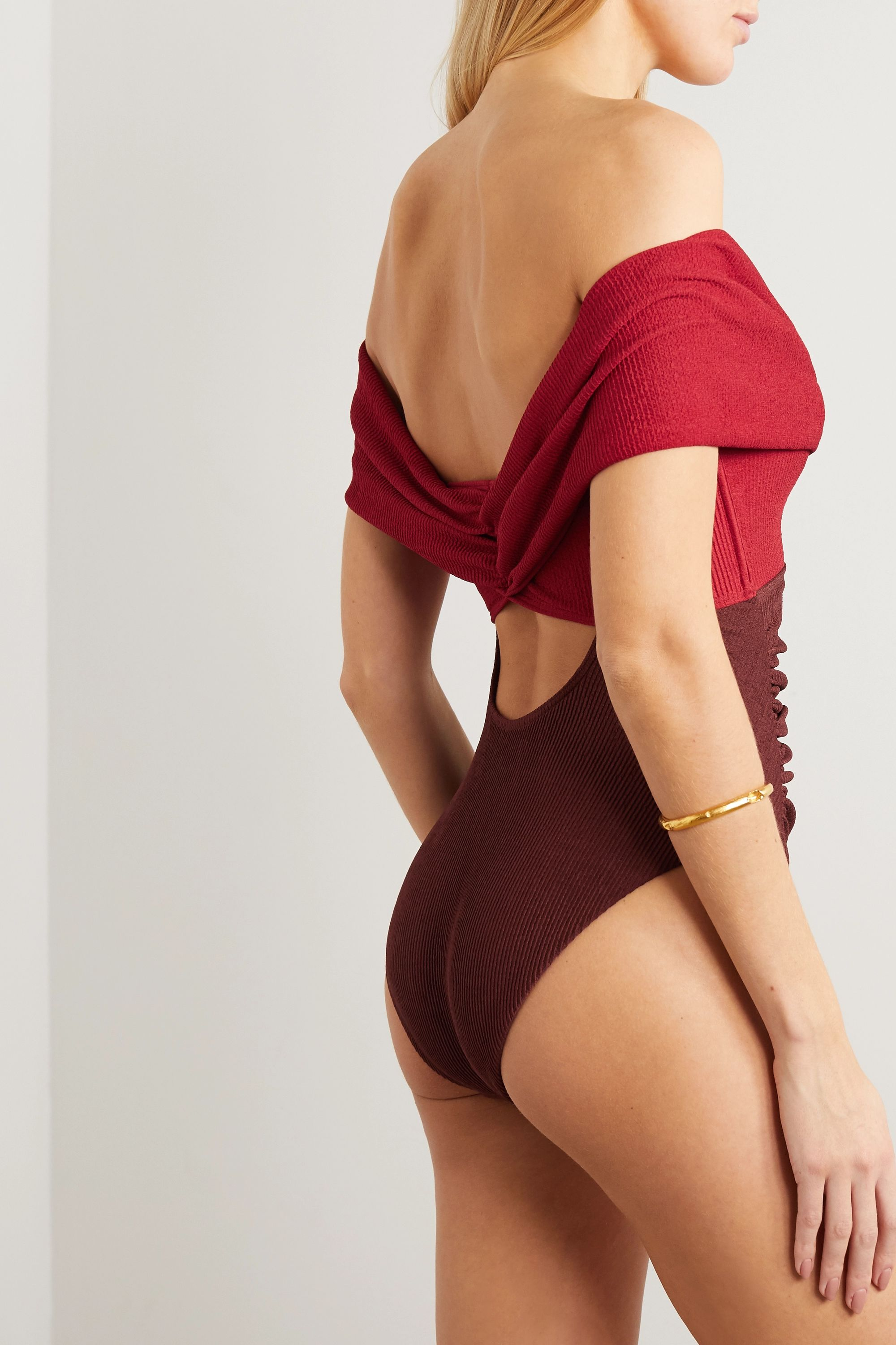 Self-Portrait Off-the-shoulder cutout two-tone ribbed swimsuit