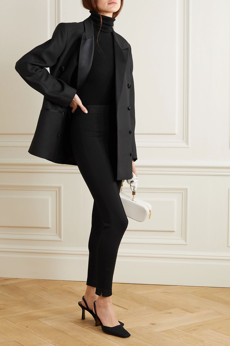 Totême Loreo oversized double-breasted silk blend-trimmed twill blazer