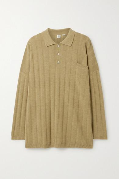 Toteme Bonifacio Oversized Ribbed Merino Wool Sweater In Tan Modesens