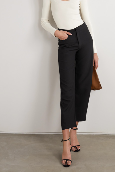Novara cropped drill straight-leg pants