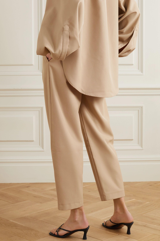 Totême Lombardy cropped pleated grain de poudre straight-leg pants