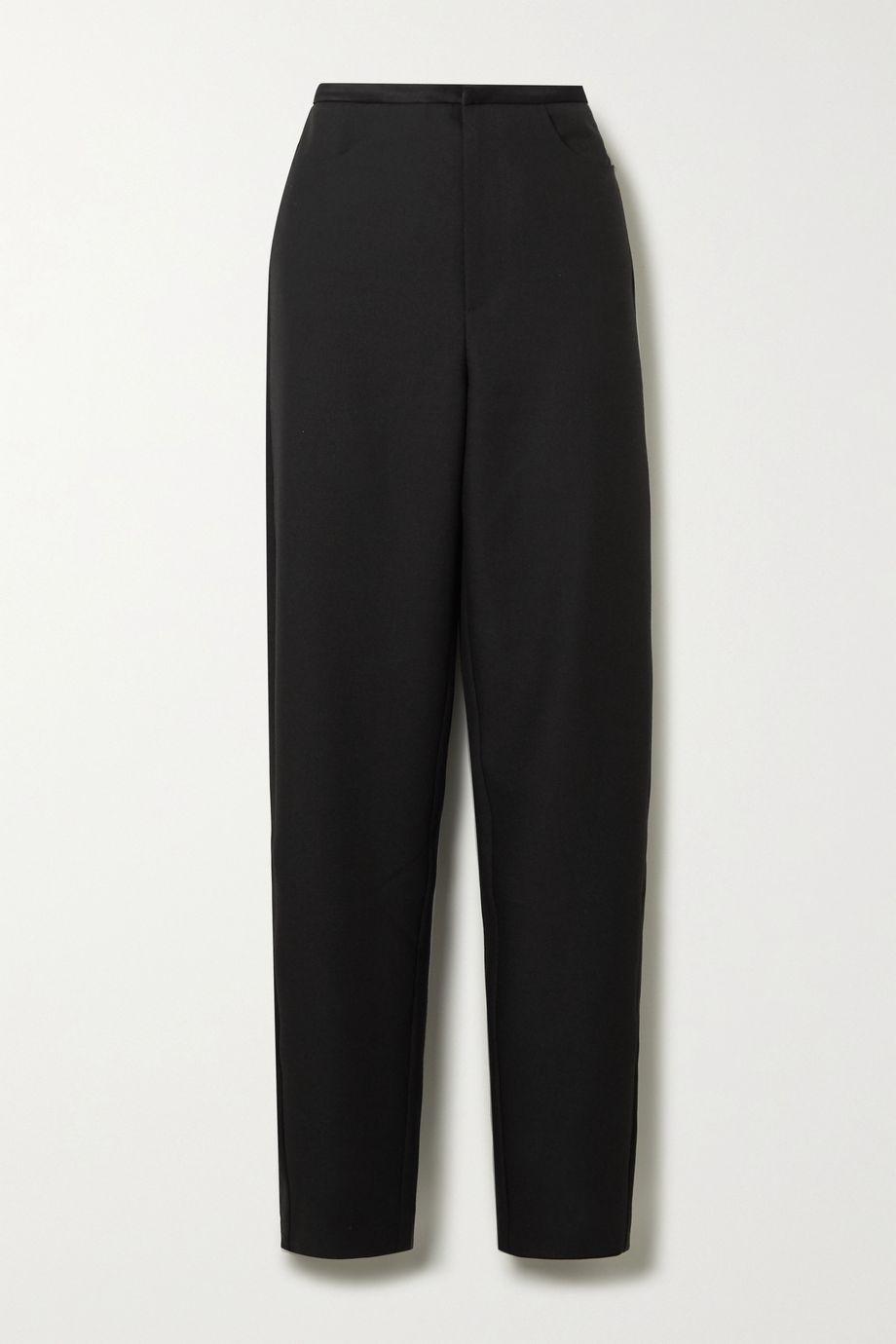 Totême Naves satin-trimmed piqué straight-leg pants