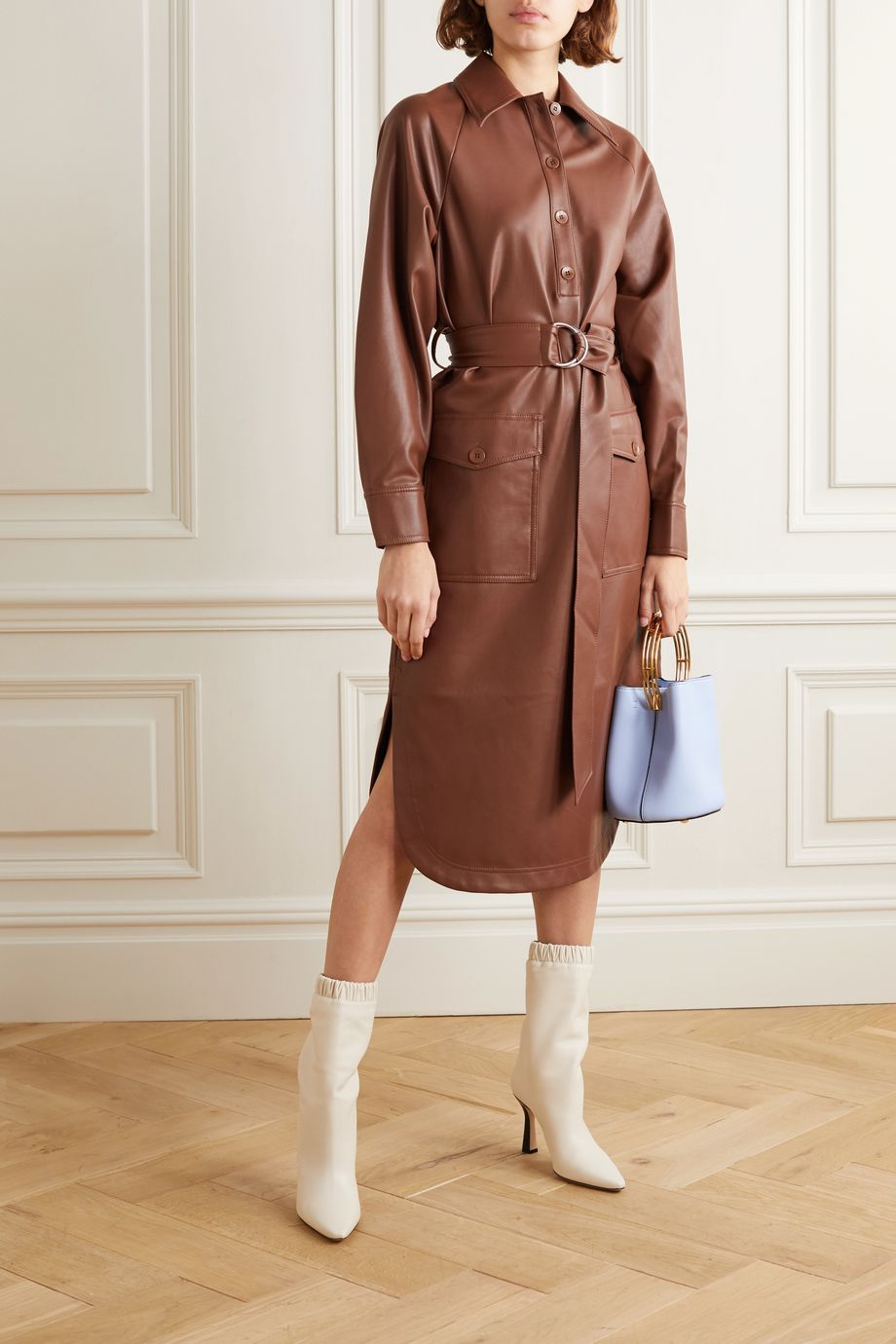 Tibi Belted faux leather midi dress