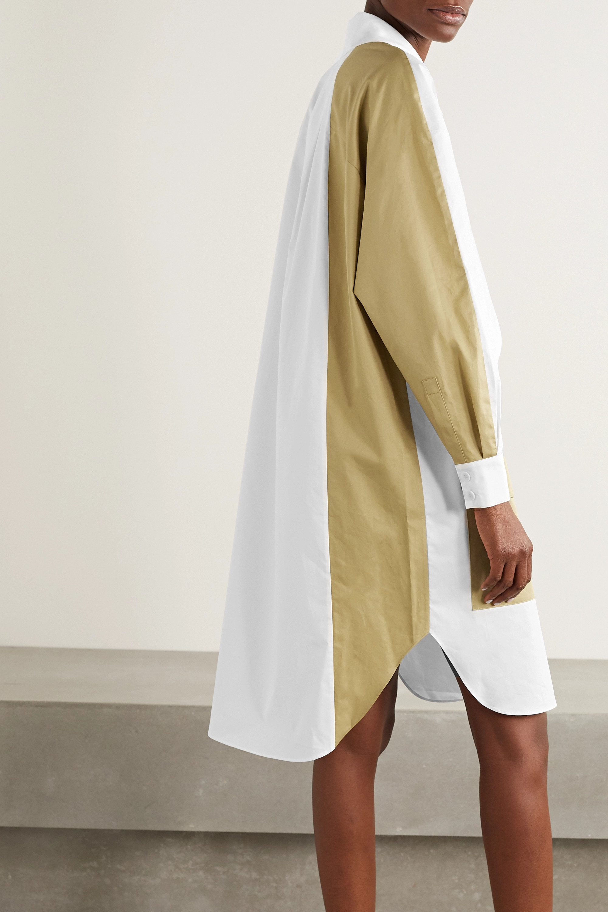 Tibi Two-tone paneled cotton-poplin dress