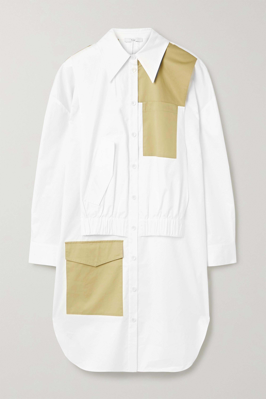 Two-tone paneled cotton-poplin dress