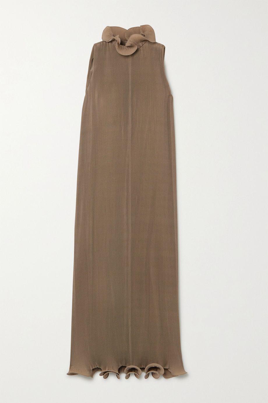 Tibi Ruffled plissé-georgette midi dress