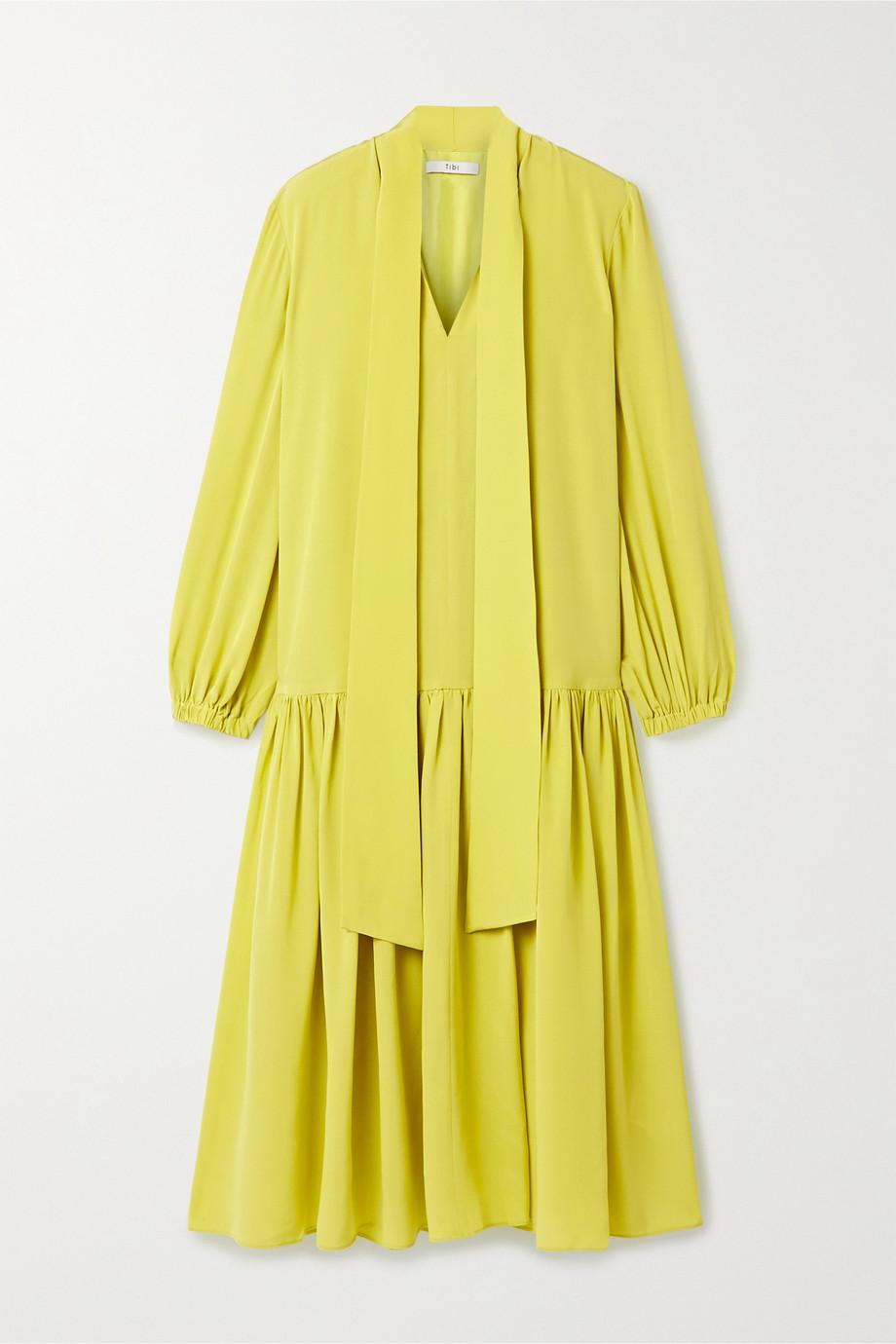 Tibi Tie-neck silk crepe de chine midi dress