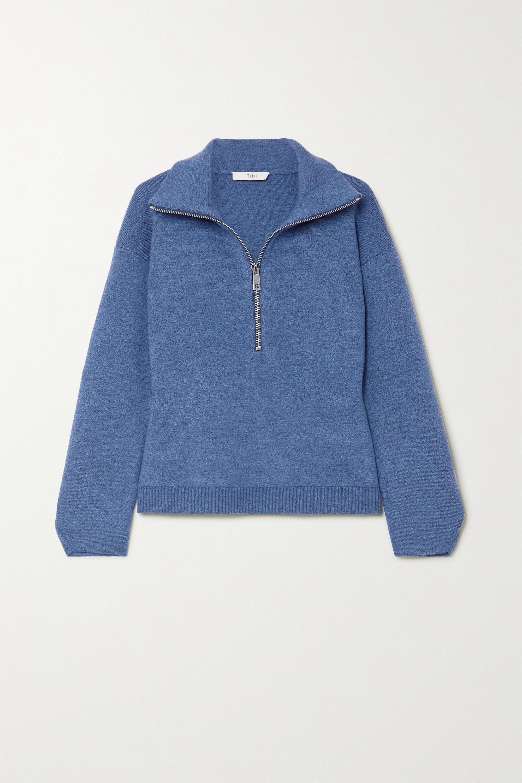 M챕lange merino wool-blend sweater