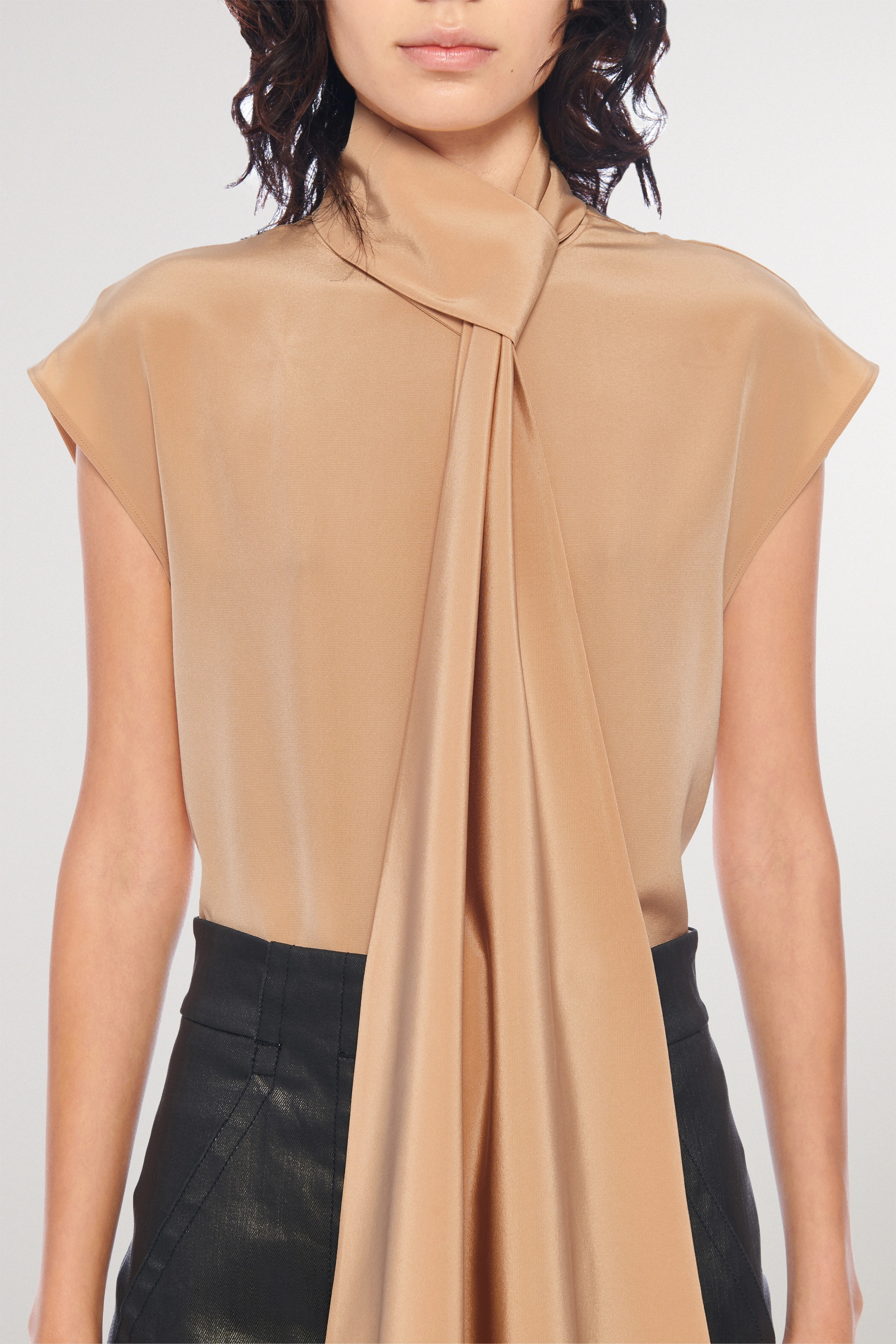 Tibi Pussy-bow silk crepe de chine top