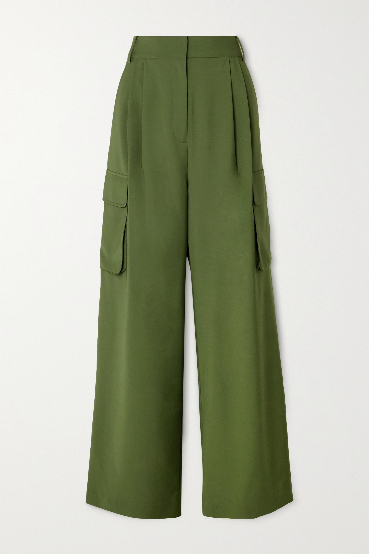 Tibi Tropical Hose mit weitem Bein aus Webstoff mit Falten