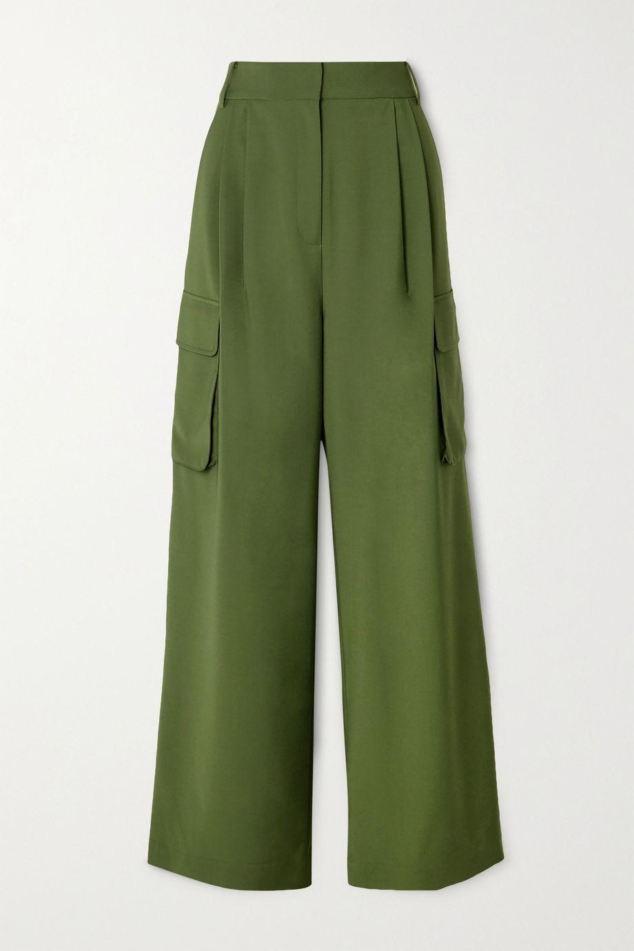 Tibi Tropical pleated woven wide-leg pants