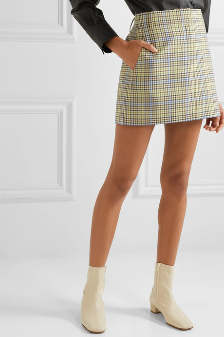 Checked woven mini skirt