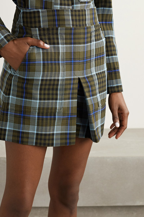 Spencer pleated checked woven shorts