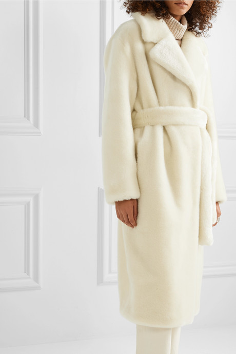 Oversized belted faux fur coat